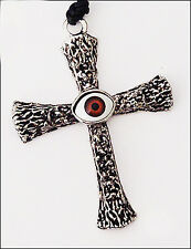 """LV 36"""" BLACK LEATHER CHORD 3"""" SILVER BROWN ACRYLIC EVIL EYE CROSS NECKLACE NEW"""