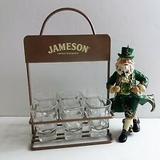Jameson Irish Whiskey Shot Glass Caddy Set / Kurt Adler Irish Santa Ornament LOT