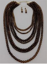 Seven Layers Brown Amber Lucite Bead Gold Tone Chunky Necklace Earring