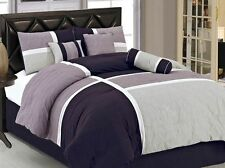 New Luxury 7-Piece King Size Quilted Bed In A Bag Comforter Set Bedding Purple