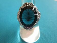 925 Sterling Silver Ring With London Blue Topaz  UK S, US 9 (rg0843)