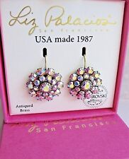 Liz Palacios USA Aurora Borealis Iridescent Grande Florette Drop Earrings Brass