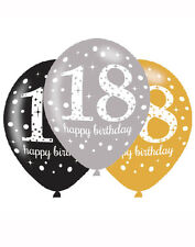 """6 x 18th Birthday Party Decoration Black Silver Gold Sparkle 11"""" Latex Balloons"""
