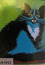 """ON SALE  -  ORIGINAL ACRYLIC ACEO PAINTING BY LJH  - """"X CAT"""" A90"""