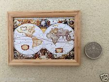 """DOLLS HOUSE MINIATURE PICTURE """"OLD STYLE WORLD MAP"""" WOOD FRAME Handmade 1:12th"""