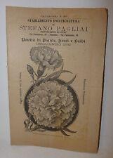 Agraria - Catalogo 49 Pagliai Semi Piante Bulbi 1892 Fiori Orticoltura Firenze