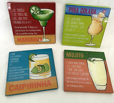 4 PIER 1 Cocktail Coasters, Hand Painted Drink Recipes, Mojito, Margarita, More