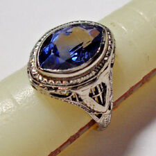 EXQUISITE ART DECO 1920s 10k WHITE GOLD VIOLET SAPPHIRE FILIGREE RING 7