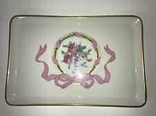 LIMOGES France Vanity Tray Plate Rectangle Pink Bow Gold Roses Floral Antique