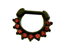 Black Septum Clicker 16G Dark Pink CZ nose piercing jewerly