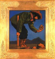 "MAXFIELD PARRISH BOOK PRINT ""THE PROSPECTOR"" FORTY-NINER EXAMINES ROCK PICKAXE"
