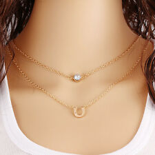 Hot Sale  Alloy Gold Plated 2 Layers Chain Pendant Necklace