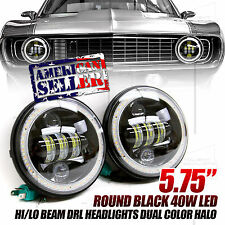 """FOR CHEVY/GMC! 5.75"""" ROUND BLACK 40W LED DRL HEADLIGHTS LED WHITE/AMBER HALO USA"""