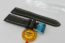 100% Genuine New Breitling Black Calf Leather Tang Buckle Strap, 24-20mm