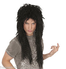 LONG BLACK GLAM ROCK PUNK ROCKER 80s ALICE COOPER SLASH KISS FANCY DRESS WIG