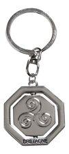 Porte-clés, bijoux de sac symbole Triskel inscription Bretagne, acier chromé.