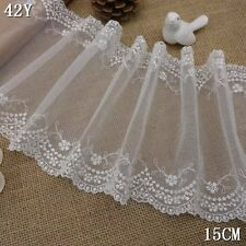"""6""""*1yard delicate off white double edge embroidered flower tulle lace trim  0252"""