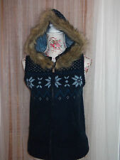 Voodoo Dolls Size 10 Ladies Blue Fairisle Faux Fur Trim Hooded Gilet NEW