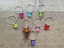 wine glass charms 8 Hearts Wedding Valentines Handmade Dinner Party Colours Cute