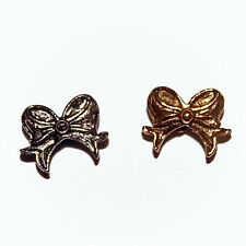 BOWS BEADS ANTIQUED GOLD PEWTER 4 WINGS OR BOW WING