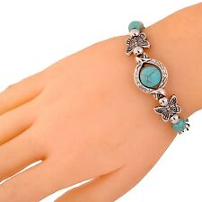 Vogue Sweet Tibetan Silver Bracelet Turquoise Inlay Butterfly Bead Adjust Bangle