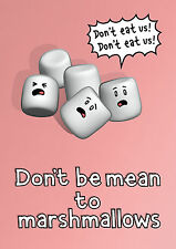 Genki Gear Cute Don't Be Mean To Marshmallows Comedy Cartoon A3 Wall Poster