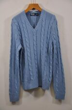 "Men's Ralph Lauren, 100% Tussah Silk, LS V-neck Cable Sweater, Armpit 21"" $145"