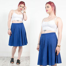 WOMENS VINTAGE 80'S HIGH WAIST PLEATED COBALT BLUE NORMCORE MINI SKIRT 16 18
