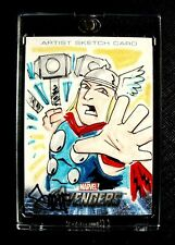 2012 Upper Deck AVENGERS ASSEMBLE Sketch Card 1/1~ THOR Swinging Hammer!