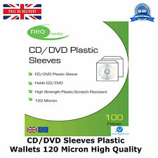 CD DVD Sleeves Plastic Wallet 120 Micron New High Quality Neo Media 100 Per Pack