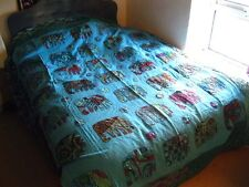 INDIAN KANTHA BEDSPREAD QUILT Blue Elephant TAPESTRY Throw EMBROIDERY DOUBLE