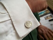 SIXPENCE (TANNER)  COIN CUFFLINKS, 1967- 50th BIRTHDAY