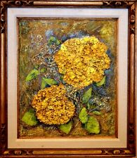 UNIQUE ORIGINAL TEXTURED ARTWORK PAINTING WITH DRIED FLOWERS FRAMED SIGNED