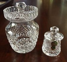 Vintage Waterford Crystal Honey/Jam Pot/Jar w/ Nothched Lid for Spoon-BOTH OFFER