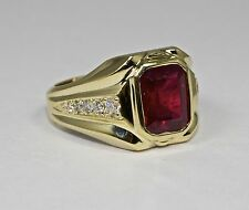 Mens 14k Yellow Gold Emerald Cut Red Ruby And White Round Diamond Ring Size 9