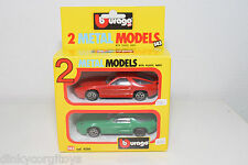 BBURAGO BURAGO 4200 GIFT SET GIFTSET 2 CARS PORSCHE 928 GREEN RED VN MINT BOXED