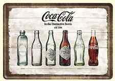 Coca- Cola Bottle Timeline mini-sign / metal postcard   140mm x 100mm (na)