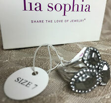 NWT Lia Sophia ~ Milano ~ Hammered Silver & Crystal Fashion Ring Size 7