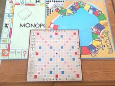 Lot of 3 vintage Game Boards--Scrabble 1948 Monopoly 1974 Dont Wake Daddy 1992