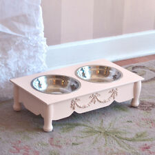 French Rose Swag 2 Bowls Raised Pet Feeder Pink Dog Cat Shabby Chic Elevated