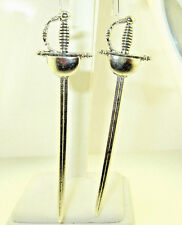 "New  Very Large  Fencing  Saber  SWORD  Silver-tone Dangle Earrings  4-1/8"" long"