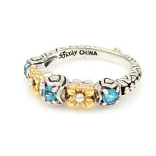 BARBARA BIXBY Sterling Silver 18k Yellow Gold & Blue Topaz Ring Size 6 | GM BX