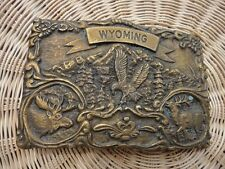 Vintage WYOMING MOOSE ELK  BELT BUCKLE Hunting Fishing Game Bird Wildlife