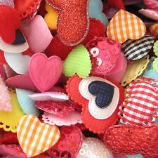 100 pc x Assorted Heart Padded Appliques/Felt/Satin/PVC/Sequin/Gingham/Shiny AH1
