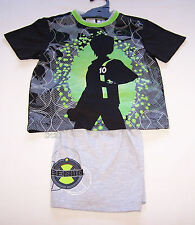 Cartoon Network Ben 10 Boys Black Grey Printed Pyjama Set Size 4 New