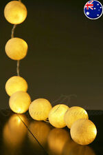 20 White BATTERY OPERATED Cotton Ball LED String Fairy Lights Wedding Decor Gift