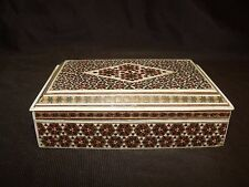 FANTASTIC QUALITY ANGLO-INDIAN SADELI Marquetry INLAID TABLE BOX bone wood gold