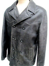 VTG..GUESS..DISTRESSED..BROWN..LEATHER..DOUBLE BREASTED..JACKET/ COAT..sz MED