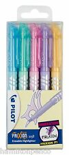 PILOT FRIXION LIGHT SOFT HIGHLIGHTER PENS - pack of 5 erasable pastel colours