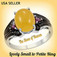 TGW 4.63 cts. Lovely Yellow Jade Orissa Rhodolite Garnet Black Diamond Ring